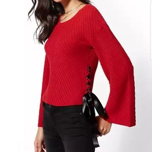 Side-Tie Ribbed-Knit Sweater